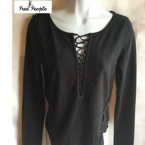 Free People size P-S black shirt-tail long sleeve